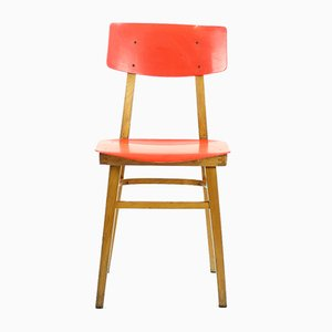 Red Plastic & Beech Wood Chair, 1960s