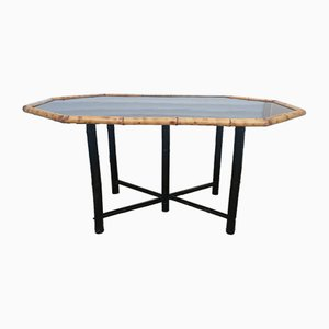 Bamboo Dining Table with Black Lacquer, 1950s