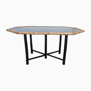 Tavolo da pranzo in bambù con lacca nera, anni '50