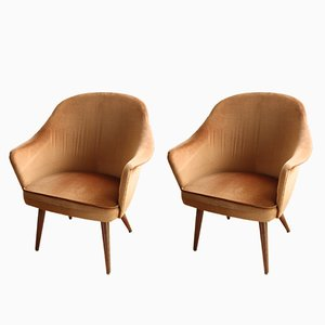 Vintage Caramel Armchairs, 1950s, Set of 2