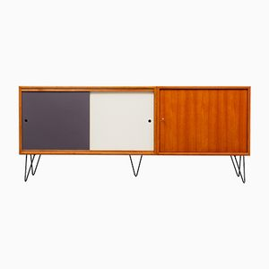 Teak Sideboard with Colored Sliding Doors, 1960s