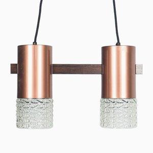 Lámpara colgante danesa vintage de bronce y vidrio, años 60