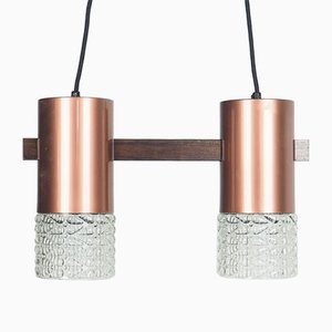 Suspension Vintage en Bronze et Verre, Danemark, 1960s