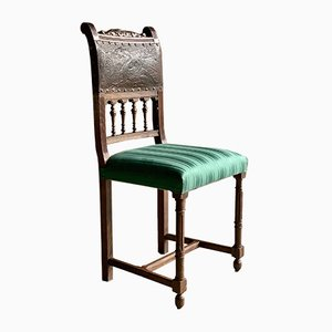 Antique Italian Oak & Leather Dining Chairs, 1890s, Set of 6