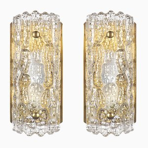 Brass & Pressed Glass Wall Sconces by Carl Fagerlund for Orrefors, 1960s, Set of 2