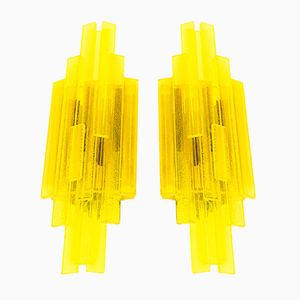 Yellow Acrylic Wall Lamps by Claus Bolby for CeBo Industri, 1960s, Set of 2