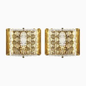 Brass & Pressed Glass Square Wall Lights by Carl Fagerlud for Orrefors, 1960s, Set of 2