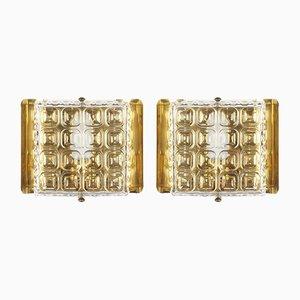 Quadratische Wandlampen aus Messing & Pressglas von Carl Fagerlud für Orrefors, 1960er, 2er Set
