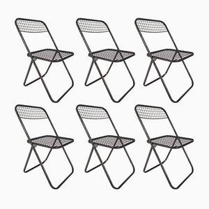 Sedie pieghevoli in metallo di Niels Gammelgaard per Ikea, anni '70, set di 6