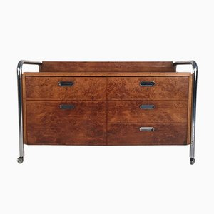 Mid-Century Burl, Oak & Chrome Sideboard