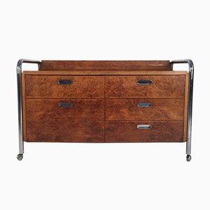 Mid-Century Burl, Oak & Chrome Sideboard