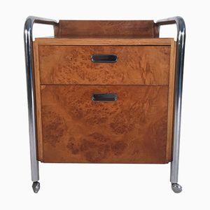 Mid-Century Burl, Oak & Chrome Cabinet