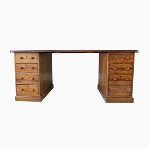 Large Antique Victorian Twin Pedestal Desk