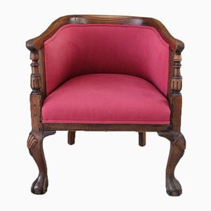 Antique Walnut and Oak Tub Chair