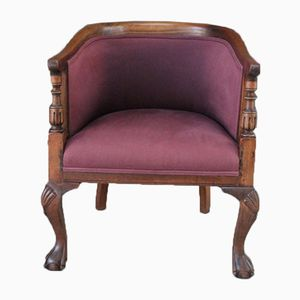 Antique Walnut and Oak Tub Chairs