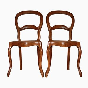 Biedermeier Chairs with Wickerwork, 1930s, Set of 2