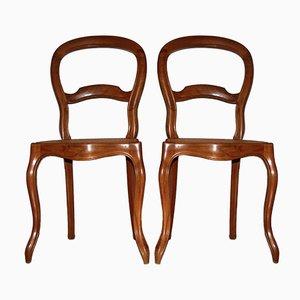 Biedermeier Stühle mit Sitz aus Korbgeflecht, 1930er, 2er Set