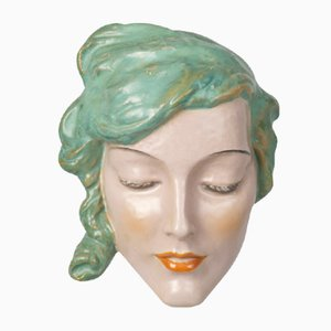Art Deco Ceramic Wall Mask from Keramos, 1930s