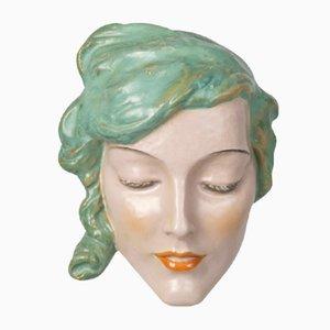 Art Deco Keramik Wall Mask von Keramos, 1930er