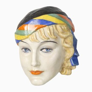 Art Deco Ceramic Wall Mask by Podany for Keramos, 1930s