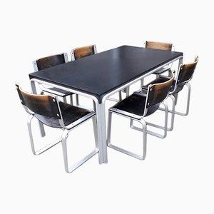 Mesa de comedor vintage con seis sillas de Pierre Mazairac para Pastoe, años 70