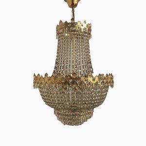 Italienischer Mid-Century Kronleuchter aus Kristallglas, 1970er