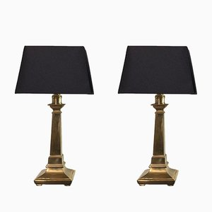 Italian Brass Table Lamps with Black Lampshades, 1960s, Set of 2