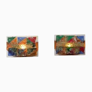 Wandleuchten aus mehrfarbigem Glas, 1950er, 2er Set