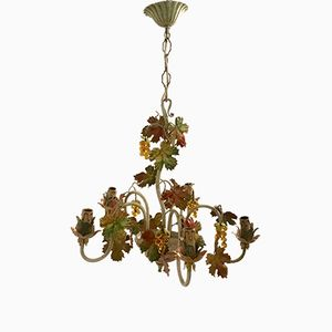 Vintage Tole Chandelier with Murano Glass Grapes, 1960s