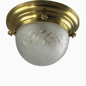 Lampada da soffitto Art Nouveau antico in ottone