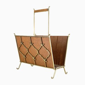 Brass & Faux Leather Magazine Rack with Teak Handle, 1960s