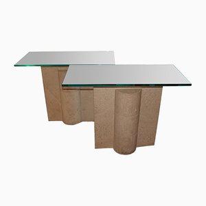 Tables Console Travertine Vintage, Set de 2