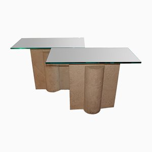 Vintage Travertine Console Tables, Set of 2