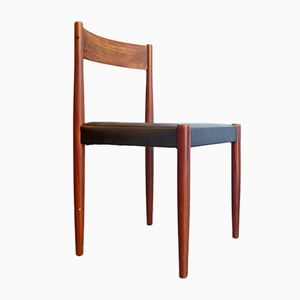 Danish Teak & Leatherette Dining Chairs, 1960s, Set of 2