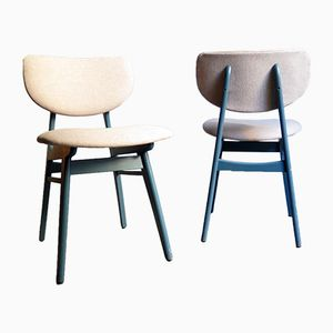 Blue Lacquered Dining Chairs, 1960s, Set of 6
