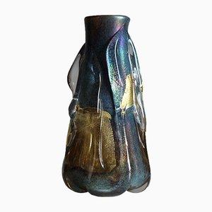 Vase en Verre avec Feuilles d'Or par Jean-Claude Novaro, 1984