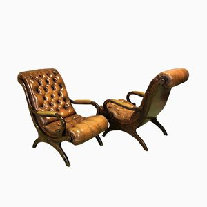Leather Chesterfield Lounge Chairs, 1950s, Set of 2