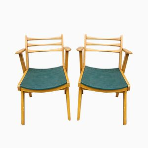 Mid-Century Stühle aus Teak, 1950er, 2er Set