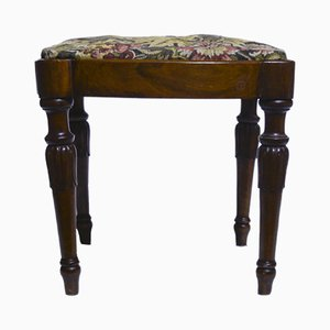Antique Italian Walnut Stool, 1880s