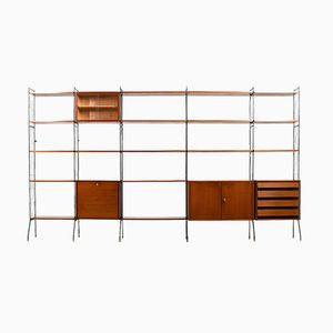 Vintage Teak Shelf System with Bar, 1950s