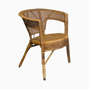 Mid-Century Round Wicker Chair