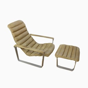 Mid-Century Pulkka Lounge Chair with Footstool by Ilmari Lappalainen for Asko, 1960s