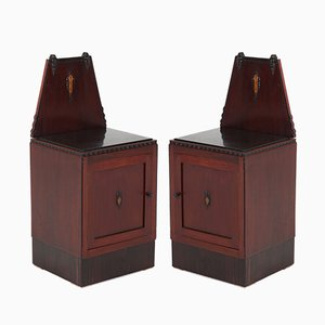 Art Deco Mahogany Nightstands, 1920s, Set of 2