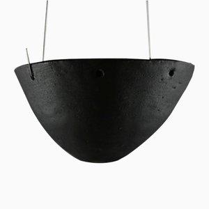 Portacandela a sospensione in gres e smaltato nero opaco di Christine Roland