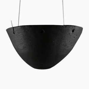 Stoneware Hanging Candleholder with Black Matte Glaze by Christine Roland