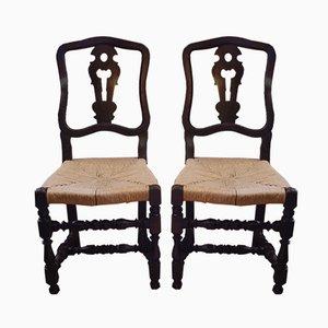 Antike italienische Stühle aus Holz & Stroh, 2er Set