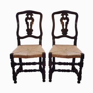 Antique Italian Wood & Straw Chairs, Set of 2