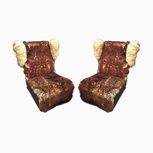 Vintage Faux Fur Lounge Chairs, 1947, Set of 2