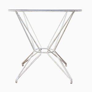 Tavolo da esterno Mid-Century in ferro battuto e vetro, anni '60