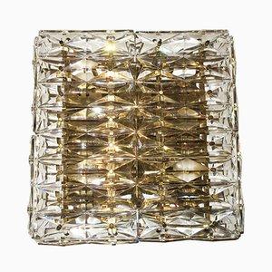 Große Vintage Wandlampe aus geschliffenem Glas & Messing von Kinkeldey
